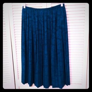 🌺NEW🌺EUC VTG teal brocade floral pleated skirt